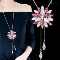 Kolye Kolye Meyfflin Çiçek Uzun Kolye Kadınlar Için Collier Moda Püskül Kristal Gerdanlık Kolye Kadın Kazak Zinciri Jewelry1