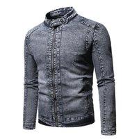 Vestes pour hommes Automne Hiver Fashion Loisirs Mens Solid-Couleur Stand Up Collier Zip Poche Zip Minceur Velvet Thermal Denim Veste