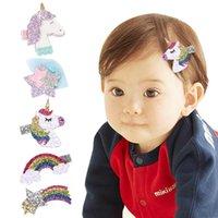 Baby Mädchen Glänzende Dimensional Einhorn Sterne Regenbogen Barrettes Haarklammern Haarnadeln Kinder Kopfschmuck Zubehör Schöner Huilin B41