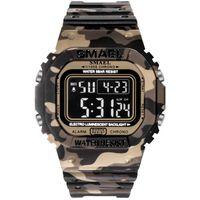 New Smael Ditigal Watch Boy Мужская студент Водонепроницаемая Светящаяся Мода Trend Часы Браун Камуфляж Пластиковые Спортивные Часы A01A5