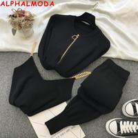 Alphalmoda Calidad Normal Zipper Cardigans + Chaleco de cadena + Pantalones Mujeres 3 unids Fashion Traje Otoño Invierno Acogedor Plazos de tejido 201008