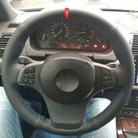 Couverture de volant de voiture à coudre à la main pour BMW E83 X3 2003 -2005 2006 2006 2008 2009 2010 E53 X5 2004 - Protecteur de voiture 2006