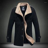 Männer Stand Blei Lamm Kollektet Windjacke Männliche Männliche Navy Blau Langer Fonds Lose Mantel Männlich Warme Dicke Outwear Turndown Collar1