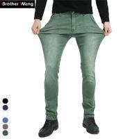 Brother Wang Brand 2020 Новые мужские эластичные джинсы мода тонкий тонкий джинсы повседневные брюки брюки джинс мужской зеленый черный синий LJ200911