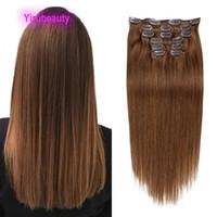 Grampo de cabelo virgem humana malaia em extensões de cabelo em linha reta 6 # cor 1 # 2 # 2 # 12 # clipe de cabelo 14-24inch 70g 100g cor pura