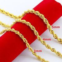 Hip Hop 24K chapado en oro de acero inoxidable Cadena de cuerda torcida collar de gargantilla para hombres para hombres Regalo de joyería de Hiphop a granel