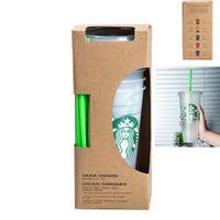 1 conjunto = 5 24oz plástico transparente xícaras de suco que não alteram a cor reutilizável Beverage Cup Starbucks com tampas e canudos c nchjl