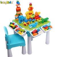 Burgkidz Kids Activity Набор стола, 128 шт. Большие строительные блоки Совместимые Все кирпича Игрушка, Строительный блок Игровой стол для детей Q0123
