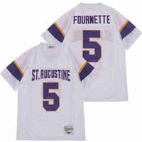 Gli uomini di vendita della High School 5 Leonard Fournette Sant'Agostino del calcio Jersey traspirante Tutto cucito bianco via Colore puro cotone Top Quality