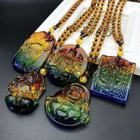Zincirler Bin El Guanyin Servet Tanrısı Kristal Uğurlu Kolye Guan Gong Para Buda Kolye Pi Xiu Renkli Taş Kazak Cha1