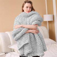 Одеяла, вязаная коренастая одеяло толстая пряжа взвешенная шерсть громоздкий вязальный бросок теплый зимний домашний диван кровать броски