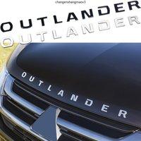 Metal Outlander Mektuplar Logo Sticker Araba Tuning Mitsubishi Ön Kafa Hood Dekorasyon Rozeti Etiket Çıkartması Aksesuarları