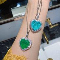Стерлинговое серебро 925 20 * 20 мм Дизайн сердца Paraiba Tourmaline Gemstone Подвесные ожерелья для женщин День рождения Ожерелье
