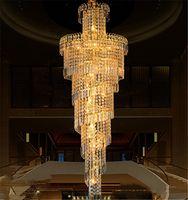 Merdiven ışık kare kristal blok avize kat uzun avize salon kolye oda kolye ışıkları yaşayan Avrupa otel villa lambaları yanar