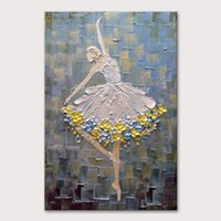 Arthyx Pintings Ballet Dancer Pictures Pintado a mano Cuchillo abstracto Pintura al óleo sobre lienzo Arte de la pared para la sala de estar Decoración de la casa Y200102