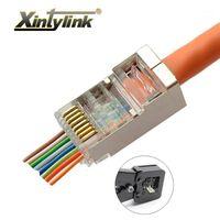 Xintylink EZ RJ45 موصل Cat6 إيثرنت كابل RG45 التوصيل RG RJ 45 Cat5 Cat5e Jack Network STP محمية LAN 8P8C 50 100pcs1