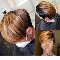 Пикси вырезать парик человеческие волосы короткие вьющиеся предварительно сорванные отбеленные узлы бразильские реми волосы волосы боба парики 13x4 кружева передняя плотность человека 180%