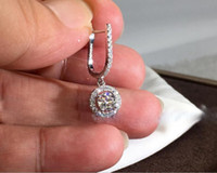 Choucong Eşsiz Tasarım Lüks Takılar 925 gümüş Yuvarlak Kesim Beyaz Topaz CZ Elmas Taşlar Klip Küpe Kadınlar Düğün Damla Küpe