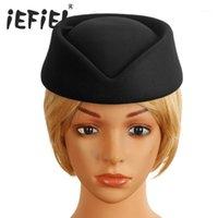Femmes Dames Air Hôtesses Pill Box chapeau de chapeaux Chauffeuse Teardrop Fascinator Casquette de base pour Cosplay Costume Accessoires Dress Up Party1