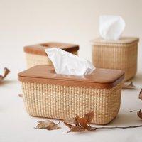 Boîtes de tissus Chambres de canne à dos de rotin Coffret Style pastoral rectangle rectangle rectangle de couverture en bois COD