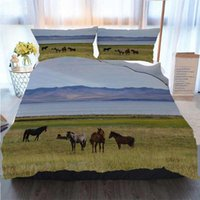 3pcs Bedding Cotton Set Super King Duvet Cover Set Horses Gr...