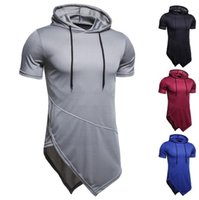 Patrón de rayas con capucha para hombre Moda casual de moda de manga corta camiseta1