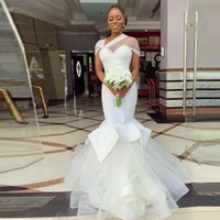 Ivory Mermaid Tulle Satin Pearls Crystals Beading Wedding Dresses with Sweep Train robe de mariage Zipper Up Back Wedding Bridal Gowns