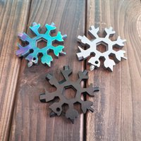 18 in 1 Snowflake Spanner Keyring Hex Multifunction Outdoor Hike Wrench Key Ring Pocket Openers Camp Survive Hand Tools DDA676