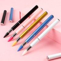lápices de colores de uñas que terminaron el doble del adorno recoger diamantes de imitación de cristal de piedra cepillo de manicura autoadhesiva pintura papel selector de 5 colores