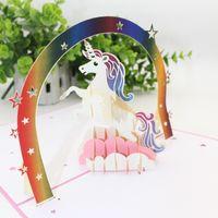 3D cartão origami criança aniversário unicórnio cartões de felicitações criativas bênçãos requintado novo padrão popular vender bem 9hp j1