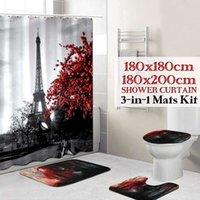 에펠 탑 파리 풍경 인쇄 욕실 샤워 커튼 세트 방수 안티 슬립 받침대 깔개 뚜껑 화장실 커버 목욕 매트 세트 T200711