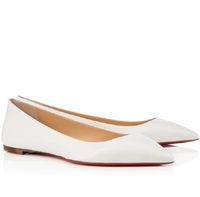 Designer-Party Red Dress inferior do calcanhar plana elegante Pantent Ballet Couro Toe planas Mulheres confortáveis Deslizamento em calçados casuais Tamanho 34-42