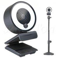 Webcams Autofokus-Webcam-Lampe 1080P 2K HD-Webkamera mit Mikrofon einstellbar LED Ring Lichtständer CAM zum Streaming PC Camera1