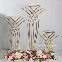 10pcs usine en gros mariage haute table de table de table métal Stands fleurs vase support doré décoration1
