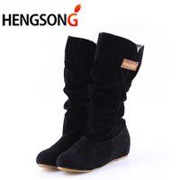 GAOKE Autumn Winter Boots Women Female Round Toe Mid-calf Princess Sweet Boot Stylish Flat Flock Shoes Snow Boots