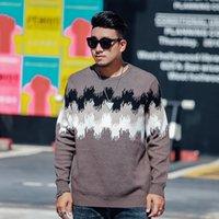 Jacquard O-cuello Hombres Suéteres 2020 Otoño Invierno Nuevo Hombre Streetwear Pullover Ropa de gran tamaño 5xl 6xl 7xl Tops casuales