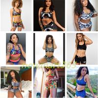 Ethika Kadınlar Moda Mayo Kırpma Üst Yelek + Swim Şort Sandıklar Boksörler 2 Parça Set Eşofman Patchwork Shark Camo Mayo Bikini NW02
