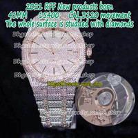 Eternity RFF Gypsophila Pavé Diamond Versión 15400 Dos tonos Totalmente helados Out Strap Side con diamantes Cal.3120 Reloj automático para hombre 15502 1545