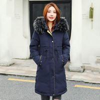 Mulheres para baixo parkas 2021 jaquetas de inverno magro mulher comprida sólida plus tamanho algodão acolchoado de pele grossa colar casual casaco frio feminino