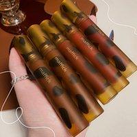 립글로스 마퍼 믹 벨벳 물질 유약 앰버 모양 초콜릿 갈색 붉은 색 긴 지속 방수 액체 립스틱 AC331
