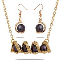 Joyas conjuntos de perlas negras Pendientes de aleación de zinc Collar Colgando Accesorios de gota Hawaiian para mujeres Regalos