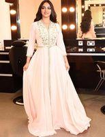 Pearl Pink marokkanische Kaftan Abendkleider Lange Abendkleid 2020 Stickerei A-Linie volle Hülsen Arabisch Muslim Formal Heimkehr