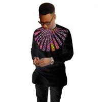 2020 Afrika Moda erkek Elbise Gömlek O-Boyun Dashiki Baskı Tops Düğün Olay Adamın Kıyafetleri Uzun Kollu Siyah Patchwork Shirts1