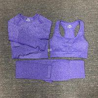 Stita di yoga di cotone da donna Gymshark sportswear tuta sportiva fitness sport tre pezzi set 3 pantaloni Bra T shirt leggings outfits 01.