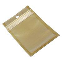 100 unids Oro / Clear cremallera bolsa de embalaje de plástico Self Seal Zip Bloqueo Ziplock Packaging Bag Hang Hole Bolsa Polybag para accesorios