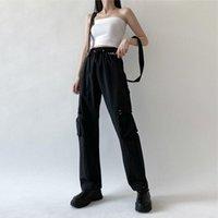 Pantalones para mujer Capris Streetwear Cargo Mujeres Casuales Joggers Negro Alto Cintura suelta Pantalones Pantalones Coreano Estilo Harajuku Señoras