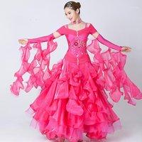 Стадия носить современный танец женщина высококлассный большой качели стандартное бальное костюм платье для соревнований Sequins Waltz / Tango / Foxtrot Costumes1