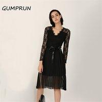 Gumprun verano vestido casual 2020 mujeres encaje plisado manga larga vestido elegante fresco negro cinta hueco gasa hueco midi vestido lj200820
