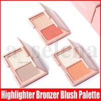 Cmaadu doppi colori trucco del fronte Highlighter Pressed Powder Diamante evidenziazione luccichio glitter Bronzers arrossisce gamma di colori con lo specchio 3 stili