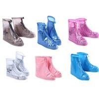 Cubierta de zapatos en el día lluvioso Unisex para adultos con cremallera para adultos Zapatos de protector a prueba de agua para exteriores Cubierta de botas High-Top Anti-Slip Lluvia Casos Yys4016